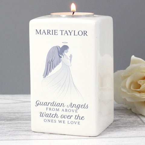 Buy Personalised Guardian Angel Ceramic Tea Light Candle Holder