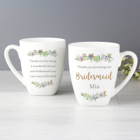 Buy Personalised Floral Watercolour Bridesmaid Wedding Latte Mug