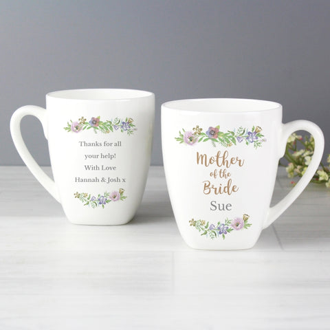 Buy Personalised Floral Watercolour Mother of the Bride Wedding Latte Mug