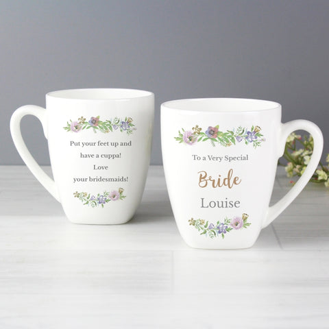 Buy Personalised Floral Watercolour Latte Mug
