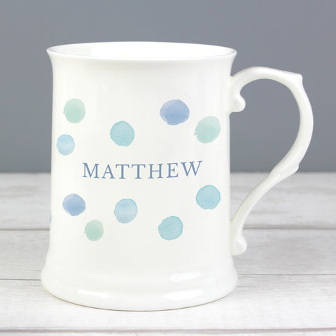 Personalised Blue Spot 15oz Mug