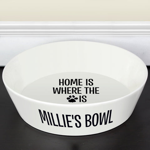 Personalised Home Is Where The Paw Is 20cm Large Bone China Pet Bowl