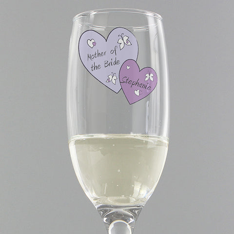 Personalised Butterfly Hearts Wedding Flute