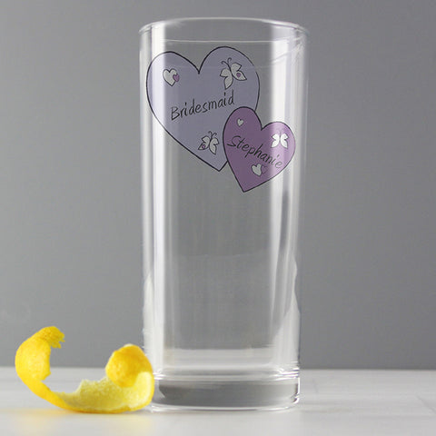 Buy Personalised Butterfly Hearts Hi Ball Glass