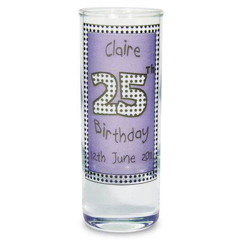 Personalised Lilac Happy Birthday Shot Glass | ShaneToddGifts.co.uk