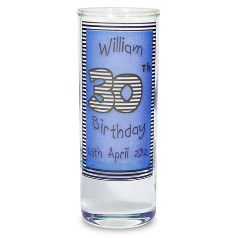 Personalised Blue Happy Birthday Shot Glass | ShaneToddGifts.co.uk