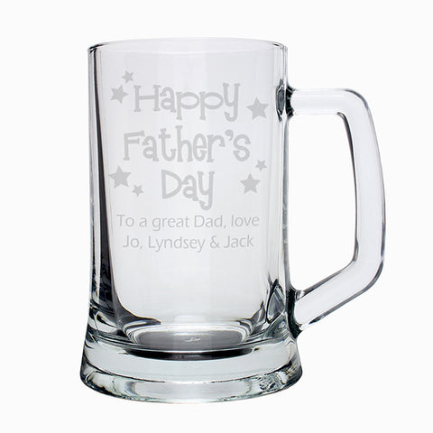 Personalised Happy Fathers Day Stars Pint Stern Tankard | ShaneToddGifts.co.uk