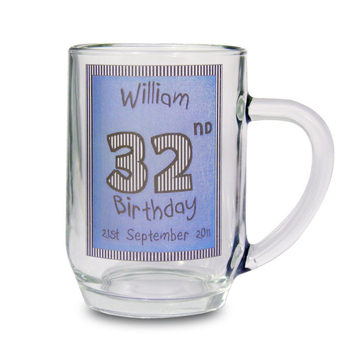 Personalised Blue Happy Birthday Tankard | ShaneToddGifts.co.uk