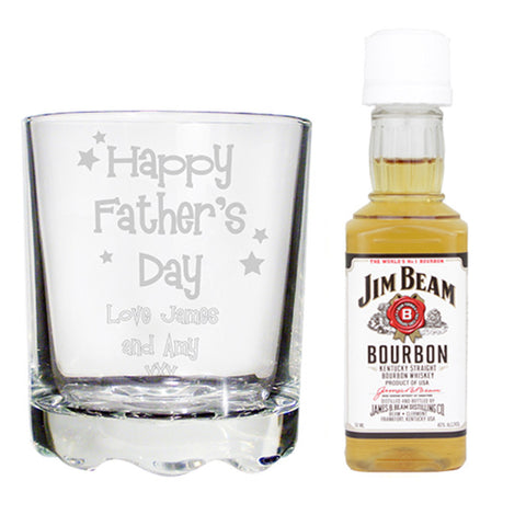 Personalised Happy FatHer's Day Glass & Bourbon Whisky Miniature Set | ShaneToddGifts.co.uk