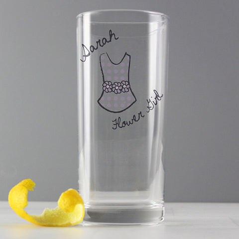 Personalised Dotty Wedding Young Female Hi Ball Glass