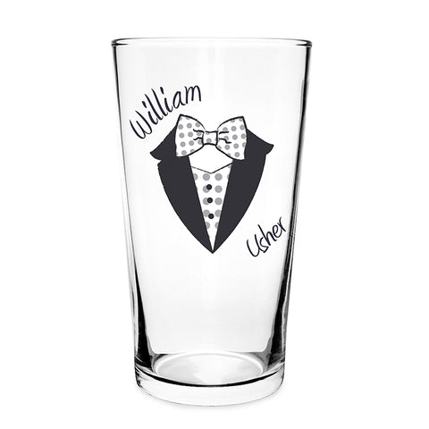 Buy Personalised Dotty Wedding Male Pint Glass