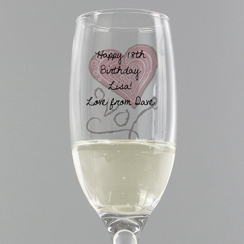 Buy Personalised Love Heart Flute & Miniature Prosecco Set