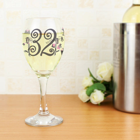 Personalised Fabulous Numbers Wine Glass
