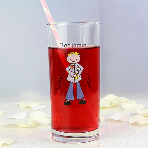 Personalised Cartoon Wedding Young Male Hi Ball Glass | ShaneToddGifts.co.uk