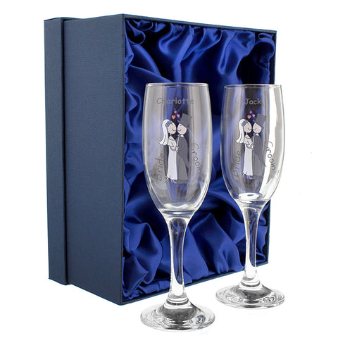 Buy Personalised Cartoon Couples Pair of Flutes with Gift Box