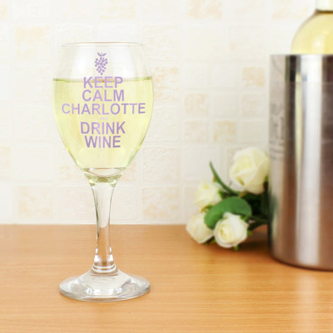 Personalised Keep Calm Drink Wine Glass | ShaneToddGifts.co.uk