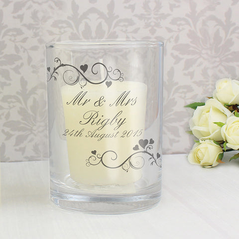 Buy Personalised Ornate Swirl Votive Candle Holder