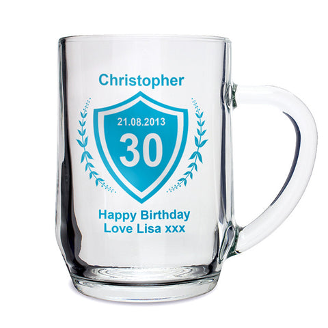 Personalised Age Crest Glass Tankard - Shane Todd Gifts UK
