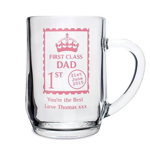 Buy Personalised 1st Class Glass Tankard