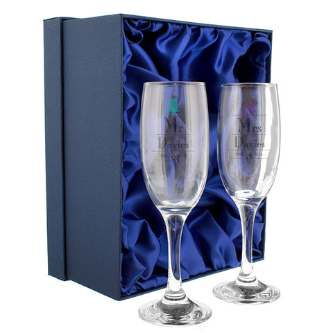 Buy Personalised Decorative Wedding Mr & Mrs Pair of Flutes with Gift Box