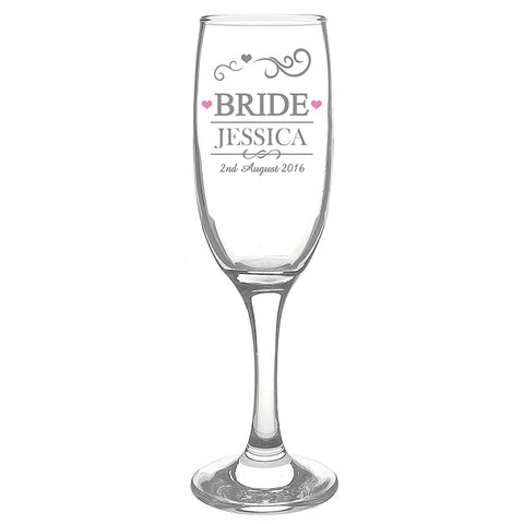Buy Personalised Mr & Mrs Bride Glass Flute