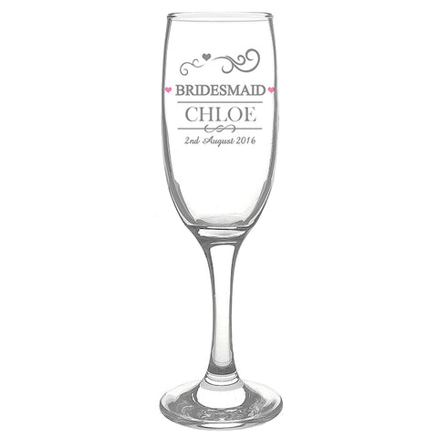 Buy Personalised Mr & Mrs Bridesmaid Glass Flute
