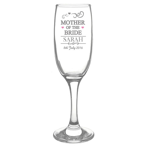 Buy Personalised Mr & Mrs Mother of the Bride Glass Flute