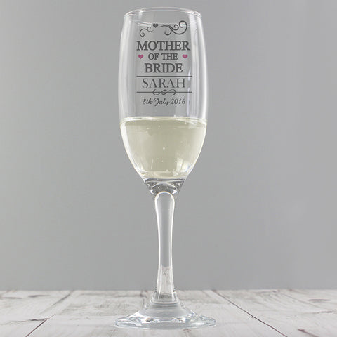 Personalised Mr & Mrs Mother of the Bride Glass Flute - Shane Todd Gifts UK