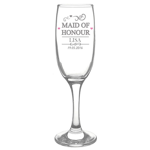Buy Personalised Mr & Mrs Maid of Honour Glass Flute