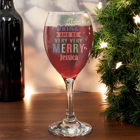 Buy Personalised Eat Drink & Be Merry Wine Glass