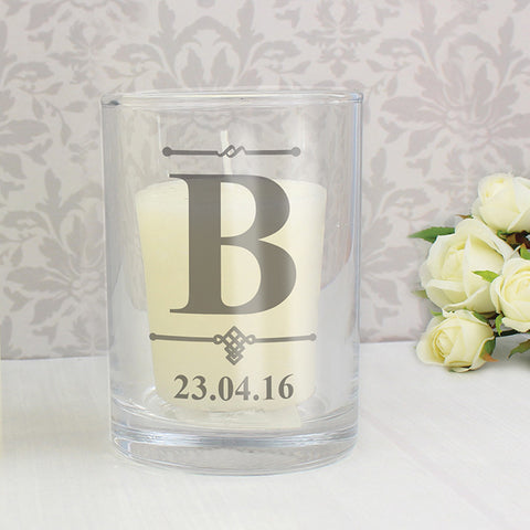 Buy Personalised Decorative Initial Votive Candle Holder