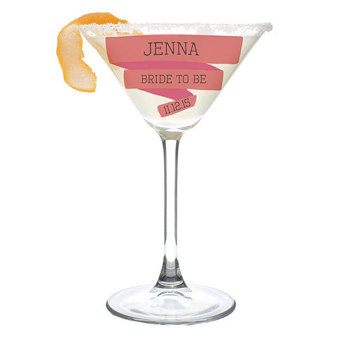 Personalised Pink Banner Cocktail Glass
