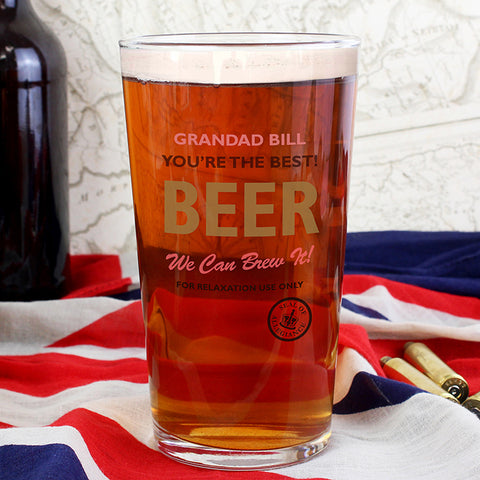 Personalised Nostalgia Pint Glass