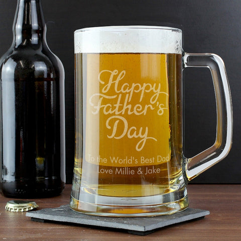 Personalised 'Happy FatHer's Day' Glass Pint Stern Tankard | ShaneToddGifts.co.uk