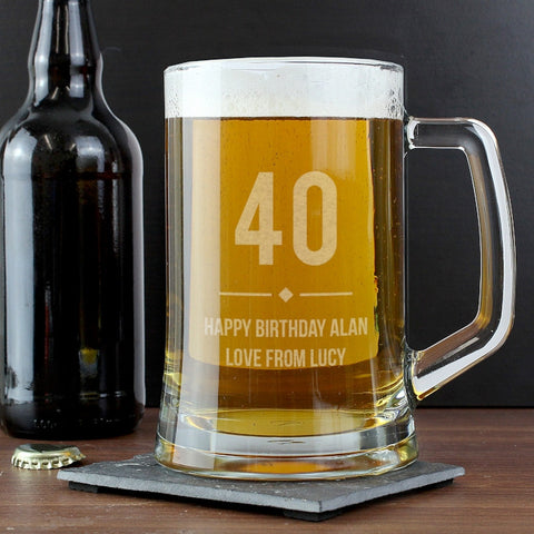 Personalised Big Age Glass Pint Stern Tankard | ShaneToddGifts.co.uk