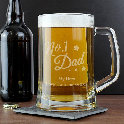 Personalised 'No.1 Dad' Glass Pint Stern Tankard | ShaneToddGifts.co.uk