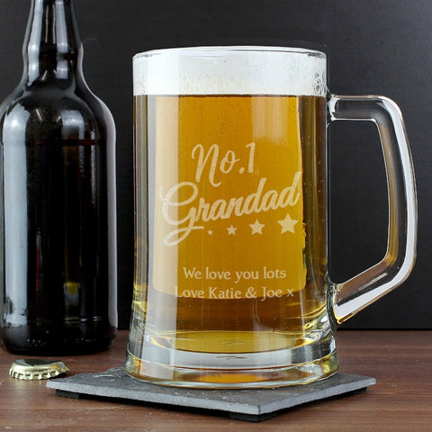 Personalised 'No.1 Grandad' Glass Pint Stern Tankard - Shane Todd Gifts UK