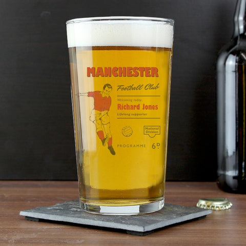 Personalised Vintage Red's Football Supporter's Pint Glass