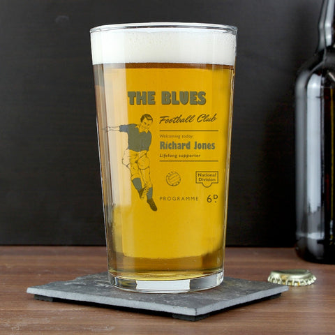 Buy Personalised Vintage Blue's Football Supporter's Pint Glass