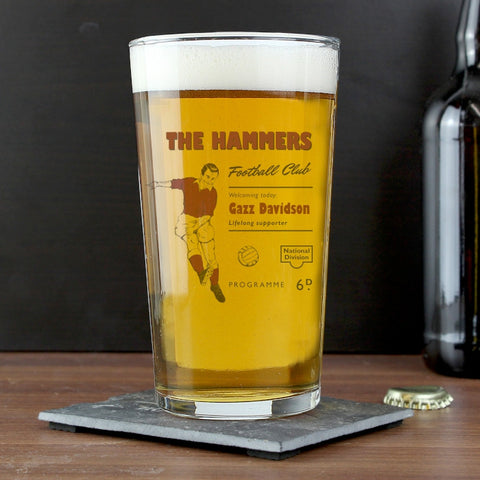 Personalised Vintage Claret's Football Supporter's Pint Glass - Shane Todd Gifts UK