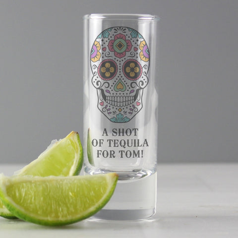 Personalised Sugar Skull Shot Glass