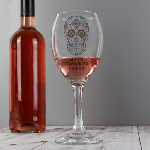 Buy Personalised Sugar Skull Wine Glass