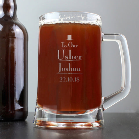 Buy Personalised Decorative Wedding Usher Stern Half Pint Tankard