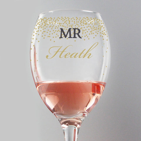 Buy Personalised Gold Confetti Wine Glass