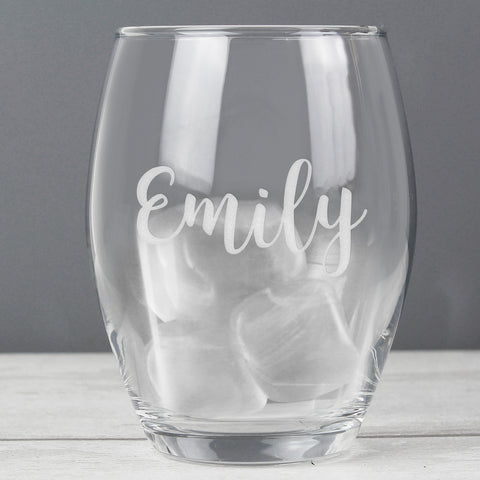 Personalised Name Only Stemless Wine Glass