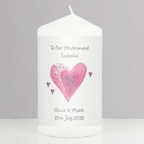 Buy Personalised Hearts Candle