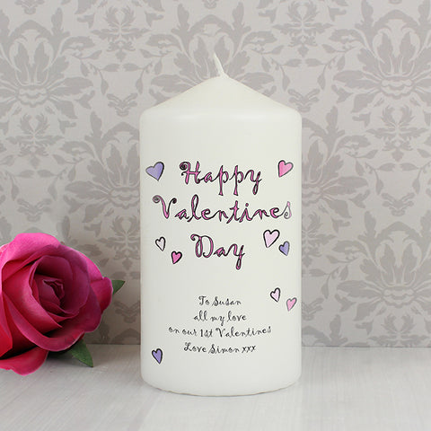 Buy Personalised Flowers and Butterflies Happy Valentines Day Candle