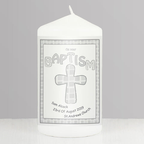 Buy Personalised Grey Baptism Candle
