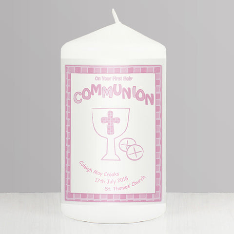Buy Personalised Pink First Holy Communion Candle