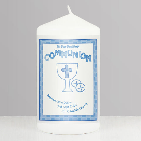 Buy Personalised Blue First Holy Communion Candle